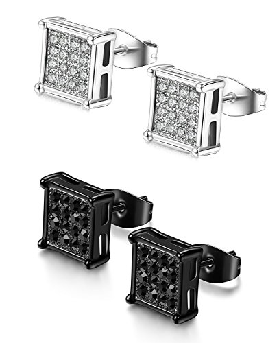 008a08394 FIBO STEEL 2 Pairs Stainless Steel Square Stud Earrings for Men Women Ear  Piercings CZ Inlaid,6-8MM. 2. The posts of earrings are in normal length.