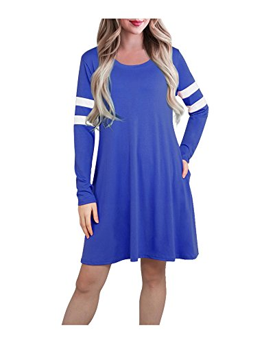 63d3eca42763 Women's Long Sleeve Pocket Baseball Casual T shirt Dress Blue M. This midi  dress from a blue Man features various colors: Black, Green, Blue, Orange  Pink.