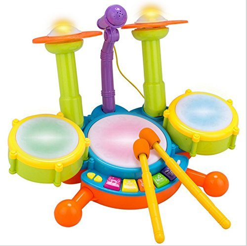 electric big toy drum set for kids with movable microphone to sing with cymbal drumsticks ztarbi. Black Bedroom Furniture Sets. Home Design Ideas