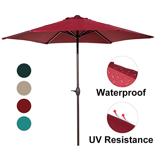 Abba Patio 9 Ft Market Outdoor Aluminum Table Patio Umbrella With Push  Button Tilt And Crank, Red