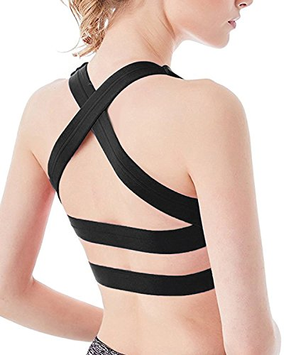 Icyzone Women Activewear Yoga Clothes Strappy Crisscross: YIANNA White Sports Bras For Women Seamless Medium Support
