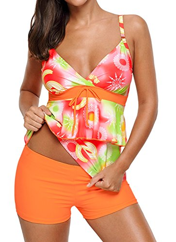 faa7ad03c4a74 Happy sailed women floral push up Padded Sporty Tankini with Shorts Bathing  Suits Occasion  Summer