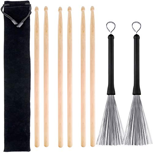 3 Pairs 5A Hard Maple Wood Drum Sticks and 1 Pair Retractable Drum Wire Brushes with a Storage Bag