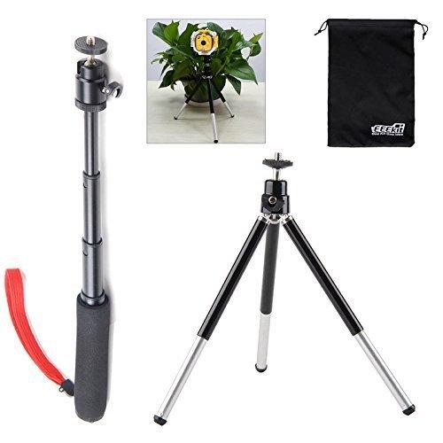 EEEKit 2in1 Kit for VTech Kids Kidizoom Action Cam/Gopro Hero 7/6/5/4/3/2, Extendable Handheld Telescopic Self Portrait Tripod Monopod and Aluminium Monopod ...